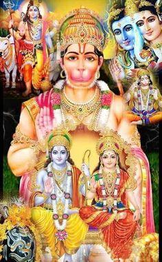 Hanuman with Rama and Sita Hanuman Photos, Hanuman Images, Hanuman Ji Wallpapers, Lord Vishnu Wallpapers, Shiva Parvati Images, Shiva Shakti, Shree Ram Images, Lord Rama Images, Hanuman Chalisa