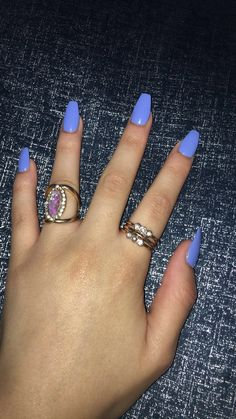 Periwinkle coffin acrylic nails ♀️ Get Nails, Dope Nails, Prom Nails, How To Do Nails, Hair And Nails, Periwinkle Nails, Dope Nail Designs, Blue Acrylic Nails, Nail Inspo