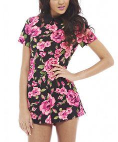 Pink & Black Floral Collar Romper by AX Paris