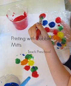 Printing with Bubble Mitts by Teach Preschool