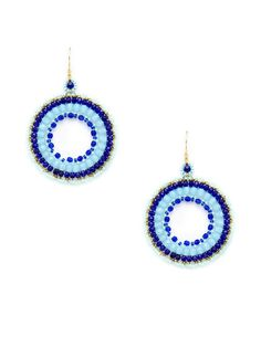 Blue Multi Open Circle Drop Earrings by Miguel Ases