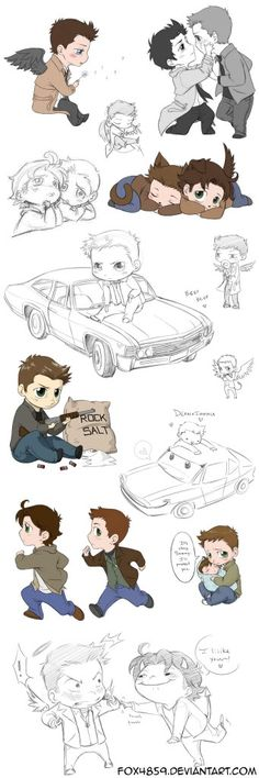 Supernatural collages Part [link] Part [link] Part [link] Part [link] Part [link] Part [link] Part HERE. Part [link] Enjoy, Fox Supernatural collage 7 Supernatural Fans, Supernatural Cartoon, Chibi, Sam E Dean Winchester, Impala 67, Memes, My Guy, Superwholock, Teen Wolf