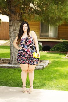 plus size romper how to wear playsuit plus size shorts  neon yellow bag