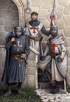 Hospitaller knight in the left, Saint Jacobus knight in the middle and in the right a Templar knight. I have both in my family.