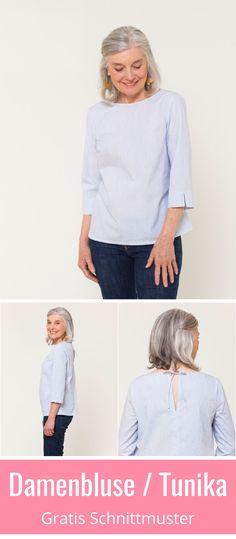 Damen-Bluse und Tunika - gratis PDF-Schnittmuste. Mit ausführliche Anleitung in Grösse XS - XXL. ✂️ Nähtalente - Magazin für kostenlose Schnittmuster ✂️ Free Sewing Pattern for a woman blouse or tunic in size XS - XL. Many lovely details and a great sewing tutorial. ✂️ Nähtalente - Magazin for sewing and free sewing pattern ✂️ #nähen #freebook #schnittmuster #gratis #nähenmachtglücklich #freesewingpattern #handmade #diy