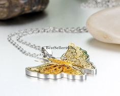 Edelstahl Schmetterling Strass Anhänger Halskette Silber Gold Elegant Damen