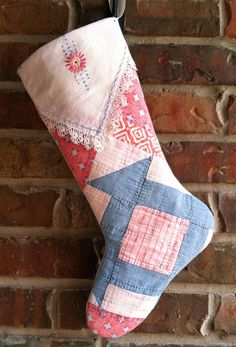 Vintage Cutter Quilt Christmas Stocking Red & by RedDirtThreads, $24.99