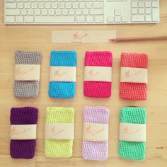 hand-crocheted phone cases in prettiful colours