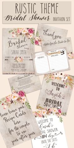 Bridal shower INVITATION Rustic Garden shower invite welcome sign thank you card. - Bridal shower INVITATION Rustic Garden shower invite welcome sign thank you card… - Rustic Bridal Shower Invitations, Bridal Shower Signs, Bridal Shower Rustic, Bridal Shower Decorations, Bridal Shower Favors, Rustic Wedding, Wedding Invitations, Wedding Ideas, Wedding Decorations