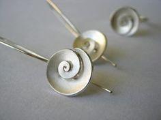 Nautilus - dangle Earrings - Sterling silver - small. $90.00, via Etsy.