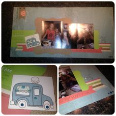 Scrapbook Layout with SEASIDE Workshop on the Go Kit and ICE CREAM DREAM (June 2015) stamp set. www.MargotsMix.com