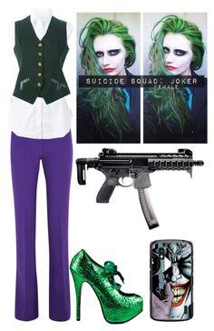 Designer Clothes, Shoes & Bags for Women Joker Halloween, Cute Halloween Costumes, Halloween 2019, Halloween Stuff, Halloween Makeup, Halloween Crafts, Halloween Ideas, Female Joker Cosplay, Joker Outfit