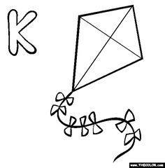Free alphabet Coloring Pages. Color in this picture of an K and others with our library of online coloring pages. Save them, send them; Alphabet Book, Learning The Alphabet, Coloring Pages For Kids, Coloring Sheets, Free Clipart Images, Online Coloring Pages, Letter K, Alphabet Coloring, Kite