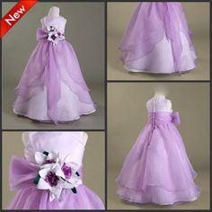 2015 Purple Flower Girl Dresses with Flower Thanksgiving Girls Pageant Dress Floor Legnth Girl Gowns For Wedding