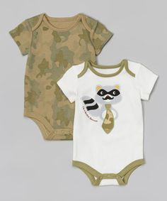 Another great find on #zulily! White Raccoon & Gray Camo Bodysuit Set by Baby Starters #zulilyfinds