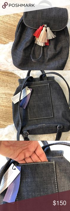 """🔷Rebecca Minkoff Denim Backpack🔷 Love this! Denim Rebecca Minkoff Sofia backpack with colorful leather tassels! Authenticity and care cards included. Brand new with tags! 30"""" drop, 9"""" W x 10"""" H x 4"""" D. Rebecca Minkoff Bags Backpacks"""