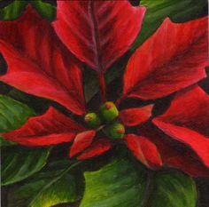 pointsettia flower acrylic    Debbie Shirley Art: Poinsettia - 4x4 original holiday painting - SOLD