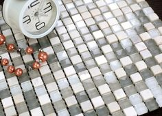 MOS0530 Mosaic Tile - Square patterned glossy mixed blend glass and stone mosaic wall tiles in grey tones by Nova Deko.