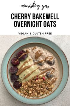 Vegan & Gluten Free Cherry Bakewell Overnight Oats | Nourishing Yas - Simple Plant based Recipes #breakfast #vegan #veganrecipes #healthy #healthyrecipes #plantbased #overnightoats #cherrybakewell #glutenfree #breakfastrecipes