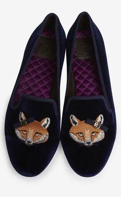 Tory Burch Navy Fox Velvet Smoking Slippers