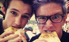 I LOVE TROYLER SO MUCH I TOTALLY SHIP THEM-><><>< Piiizza (key to Tyler's heart)><>< Tyler's tweet: we ate the pizza like you fall asleep, slowly and then all at once><><they're gonna get married its just gonna happen, I know it will