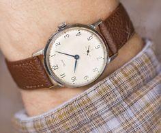 Classic men's wristwatch round minimalist watch men's by SovietEra, $65.00