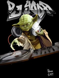 DJ Yoda Dj Music, Music Is Life, Dj Yoda, Dj Equipment, Music Images, Vinyl Records, Musicals, Star Wars, Drawings
