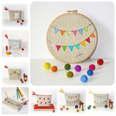 bunting in embroidery hoop