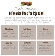 Considered a magical beauty potion that hydrates skin and moisturizes hair by mimicking the natural oils produced by your body. Here are 6 of our favorite uses for jojoba oil. 1. Makeup Remover - U...
