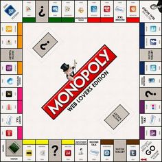 Istanbul-based creative firm Make Some Design has come up with a Web Lovers Edition of Monopoly featuring the most popular Internet companies. Retro Arcade Games, Monopoly Board, Monopoly Game, Google Plus, Star Wars, Back To The Future, Just Kidding, Really Cool Stuff, Board Games