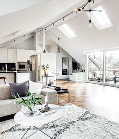 Clever open-plan design for an attic apartment in Stockholm (see more, link in bio) xx