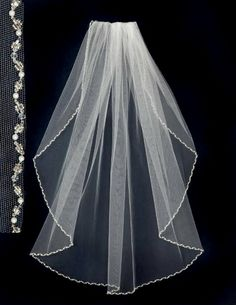 Wedding Veil with Pearls and Crystal Beads