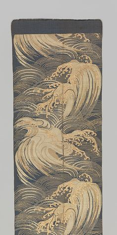 Obi with Stylized Waves from the Meiji period. Silk and metallic thread