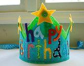 Custom Felt and Fabric Happy Birthday Crown Made to Match Happy Birthday Banner. $15.00, via Etsy.