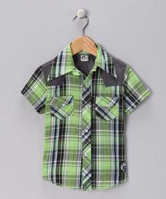 Knuckleheads Green No Show Rockabilly Button-Up Shirt
