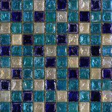 Seaside glass tile blend: White & Sea Blue & Cobalt Blue by Maestro