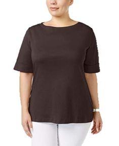4d48a4db420 Karen Scott Womens Plus Size 1X Chocolate Brown Cuffed T-Shirt  KarenScott   TShirt