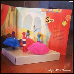 Using Books to Create Small World Ballerina Scenes_ My Little Bookcase Preschool Curriculum, Kindergarten Art, Preschool Art, Maker Shop, Small World Play, Fairy Crafts, Dramatic Play, Learning Tools, Used Books