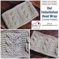 RAKJpatterns; Creative Crochet Patterns | Free Crochet Pattern: Owl Embellished Head Wrap