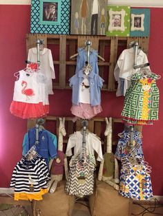 "New addition of Children's Clothing on our ""re-purposed"" display:  made from pallets and plumbing supplies!"