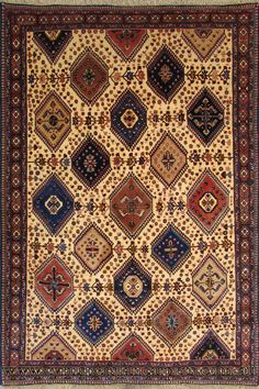 Yalameh Geometric Hand Knotted Wool Persian Rug