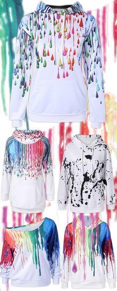 fbb5d2f918ee4 Pullover Splatter Paint Kangaroo Pocket Hoodie Paint Splatter Shirt