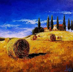 Tuscany by Dima Dmitriev, Russian Impressionist Tuscany Landscape, Landscape Art, Landscape Paintings, Farm Paintings, Paintings I Love, Art Pictures, Photos, Painting Inspiration, Les Oeuvres