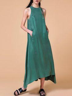 Green Crew Neck Sleeveless Pockets Midi Dress