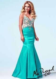 Mac Duggal 76588A - Seafoam/Nude Beaded Mermaid Prom Dresses Online #thepromdresses