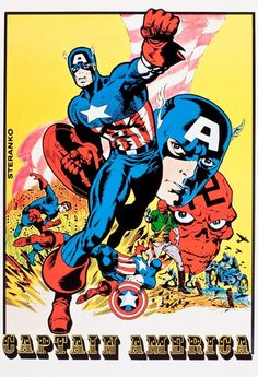 Beautiful mint condition 24 x 36 inch reproduction Marvel Mania Captain America poster. Back in the day these posters were available by special mail order to MM members only. No tack holes, tape marks, pin holes or dog-eared corners, just a per. Captain America Poster, Marvel Captain America, Marvel Comics Art, Marvel Comic Universe, Marvel Heroes, Marvel Characters, Marvel Vs, Book Characters, Jack Kirby