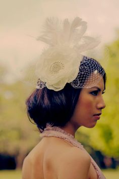 vintage bridal head piece silk flowerrussian by PrettyBloom, $185.00