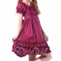 Vintage Square Neck Bow Ruched Lace Up Short Sleeves Women's Dress