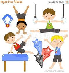 SALE Boys Gymnastics Cute Digital Clipart - Commercial Use OK - Gymnastics Clipart, Boy Gymnast, Gymnastics Clip Art, Tumbling