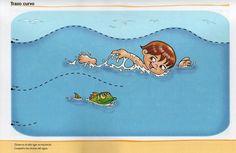 schrijfpatroon zwemmen, voor kleuters, free printable